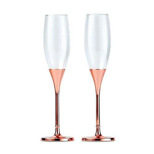Сватбени чаши с кристали-Розово злато и диамантен блясък
