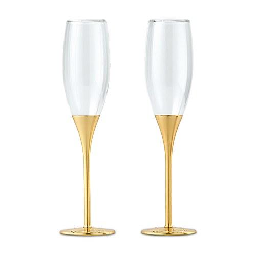 Златни сватбени чаши с кристали